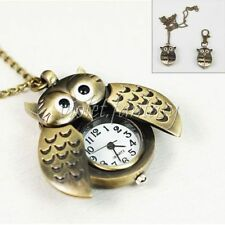 Vintage Bronze Wings Owl-shape Pocket Key Ring Watch Pendant Necklace Chain New
