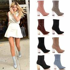 LADIES WOMENS ANKLE BOOTS CLEAR PERSPEX BLOCK HIGH HEEL FASHION SHOES SIZE