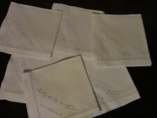 "VINTAGE WHITE EMBROIDERED 100% COTTON 6 PIECE NAPKIN SET 11"" X 11"""