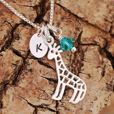 925 Sterling Silver Personalized Filigree Giraffe Pendant Necklace & Birthstone
