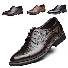 Mens Work Formal Business Leather Shoe Crocodiled Pointed Lace Up Casual Wedding