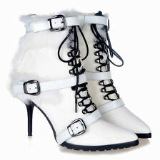 Women Warm Ankle Boot Fur Furry Leather Pointed Toe Lace Up Stilettos Zip Buckle