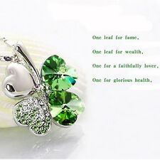 Lover Gifts Women Happiness Clover Leaf Crystal Pendant Chain Lucky Necklaces