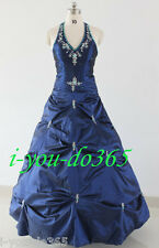 New Stock Navy Blue Evening Wedding Bridesmaids Dress Size 6 8 10 12 14 16