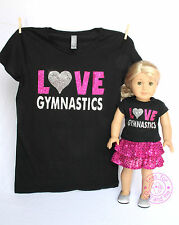 American Girl Doll Clothes - SPARKLE! Matching Girl & Doll Love Gymnastics Shirt