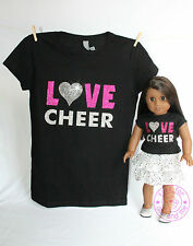 American Girl Doll Clothes - Sparkle! Matching Girl and Doll Love Cheer Shirts