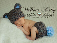 Adorable Handmade Baby Bear Hat & Diaper Cover Sizes Available 0-9 Months