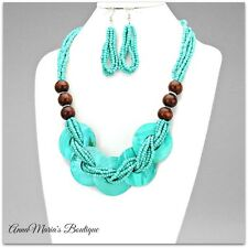 BOHO CHIC SEED & WOOD BEAD & SHELL BRAIDED STATEMENT NECKLACE & EARRING SET
