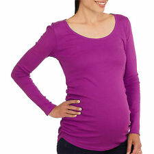 Planet Motherhood Women's Maternity Long Sleeve Ruched Sides Top 4-6 Small