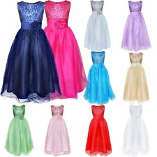 Flower Girl Sequin Dress Birthday Wedding Pageant Party Prom Long Ball Gown
