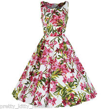 Pretty Kitty White Pink Floral Print Cotton 50s Rockabilly Swing Dress 8-18