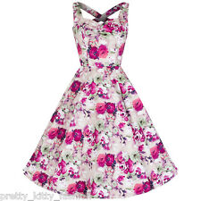 Pretty Kitty Pink Floral Print Frill Cotton 50s Prom Rockabilly Swing Dress 8-18