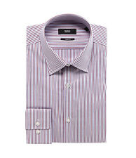 HUGO BOSS MARLOW US BLACK LABEL DRESS SHIRT SHARP FIT RED/WHITE/BLUE STRIPED NWT