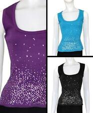 Select Ladies Sequin Detail Ribbed Vest Tops - SAVE 70% RRP £10 - Size 8 to 14