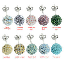 Crystal Disco Ball Made with Swarovski Crystals Studs Earrings Sterling Silver
