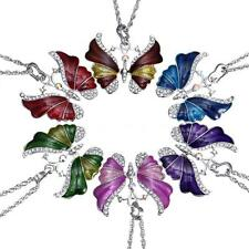 Women's Charm Silver Rhinestone Crystal Butterfly Necklace Pendant Chain TA F1S4