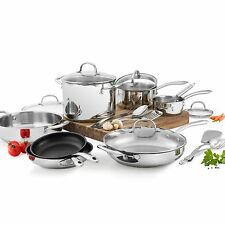 NEW WOLFGANG PUCK 18-PIECE STAINLESS STEEL COOKWARE LIDS & KITCHEN TOOLS SET