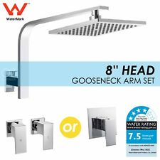 "WELS WaterMark 8"" Square Rainfall Shower Head Rose Cubic Wall Arm Mixer Tap Set"