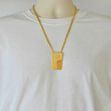 Mens Canadian Maple Leaf Necklace Pendant Curb Chain 24k Gold Plated Necklaces