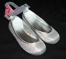 Gymboree FESTIVE HOLIDAY Sequin Silver Ballet Shoes NWT 10 Girls