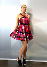 Women's Skater Mini pinafore dress with box pleat and strap detail in Pink print