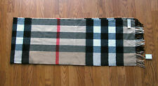 BURBERRY GIANT EXPLODED CHECK HALF MEGA CASHMERE SCARF CAMEL CHECK NWT/$575