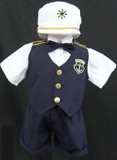 New Baby Toddler Boy kid Navy sailor outfit suit set size 0 1 2 3 4 5 (0-24M)