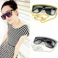 WOMENS LADIES VINTAGE FASHION FULL FRAME SUNGLASSES WITH GOLD / SILVER CHAIN