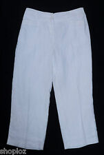 Ladies M&S Size 10 Per Una Pure Linen Cropped Crop Pants Trousers Bnwt