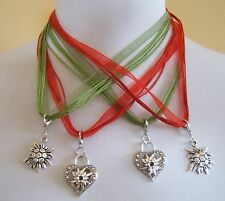 German Austrian Trachten Organza Necklace W. Heart Or Edelweiss Pendant Dirndl