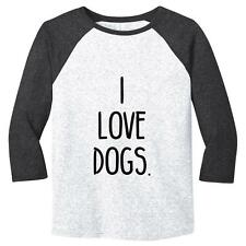 I Love Dogs. Mens Baseball Shirt Dogs Puppies Soft Comfy Top Triblend