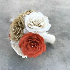 Wedding bouquets in burnt orange, ivory and gold handmade paper Roses