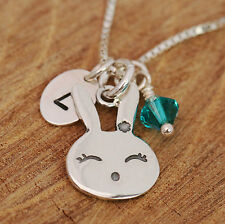 925 Sterling Silver Personalised Happy Bunny Rabbit Pendant Necklace &Birthstone