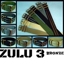 ZULU 3 RING NYLON BRONZE HARDWARE MILITARY DIVE WATCH BAND/STRAP 20mm/22mm/24mm