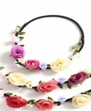 Boho Ladies Floral Rose Daisy Flower Festival Garland Forehead Hair Head Band