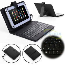 """Universal For 7""""~ 8"""" inch Tablet PC Leather Case Cover Micro USB Wired Keyboard"""
