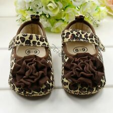 Cute Leopard Flower Baby Shoes Kids Girls Soft Crib Princess Toddler Shoes 3-12M