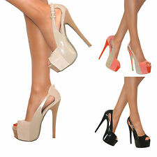 LADIES SUEDE PLATFORM STILETTO HIGH HEELS SLINGBACK PEEP TOE SHOES SIZE PROM