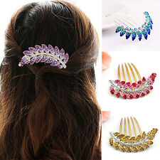 Proper Girl Peacock Leaf Crystal Hair Clip Wedding Bridal Hairpin Comb Gift