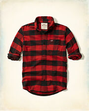 NWT Hollister by Abercrombie Mens Plaid Flannel Shirt Red/Black Check 100%Cotton