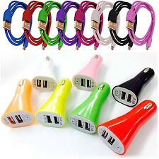 3.1A DUAL USB IN CAR BULLET CHARGER+DATA CABLE FOR HTC ONE V