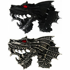 Belt Buckle Dragon Dragon's head red Eyes Silver-coloured or blacked out