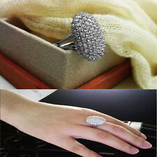 Silver Tone Ring Alloy Crystal Jewelry Size 6-14 Womans Wedding Party Xmas Gift
