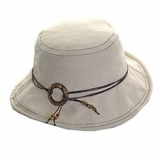 Ladies Beige Shapeable Brim Sun Hat With Beaded Rope String Round Brim