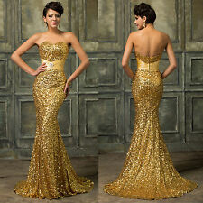 Sexy Sequins Mermaid Long Bridesmaid Prom Ball Gown Evening Party Cocktail Dress