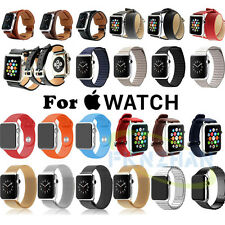 Genuine Leather/Stainless Steel Milanese Loop Wrist Band Strap For Apple Watch