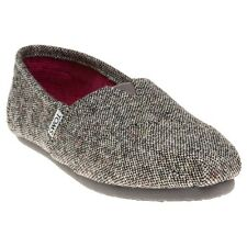 New Womens Toms Grey Classic Textile Shoes Canvas Slip On