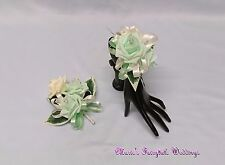 WEDDING FLOWERS LADIES/BRIDESMAID WRIST/PIN ON CORSAGE FOAM ROSES MINT GREEN