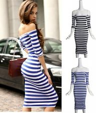 Sexy Women Off Shoulder Striped Wiggle Bodycon Stretch Cocktail Club Party Dress