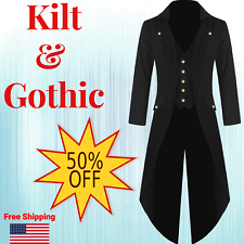 Steampunk Sleeve Men Jacket Military Style Coats Victorian Party Gothic Tailcoat